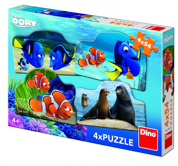 Puzzle 4 in 1 - Dory in marea aventura (54 piese) 0