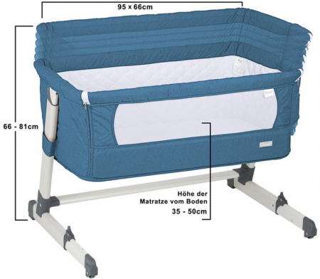 BabyGo - Patut co-sleeper 2 in 1 Together Turquoise Blue3