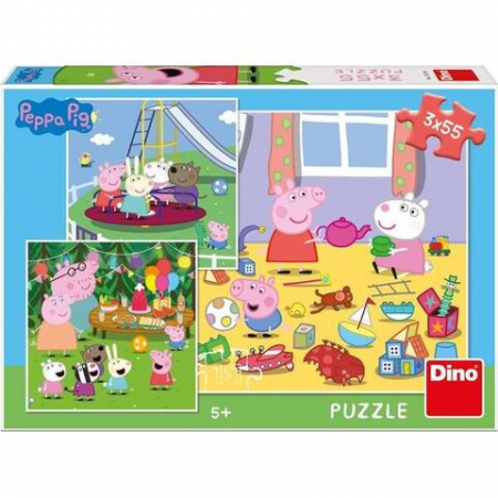 Puzzle 3 in 1 - Purcelusa Peppa in vacanta (55 piese)0