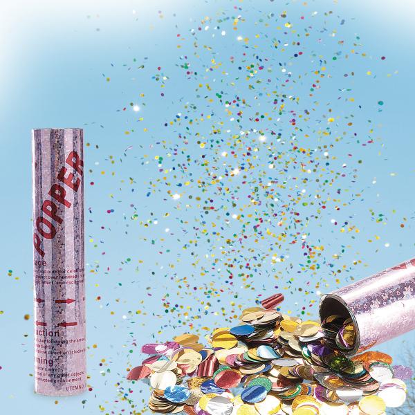 Tub confetti metalizat H 20cm cu aer comprimat 0