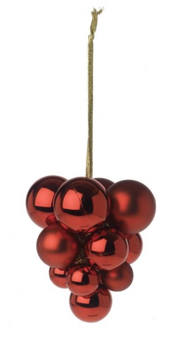 Decoratiune Craciun ciorchine 13 globuri rosii 30/40/50 mm [0]