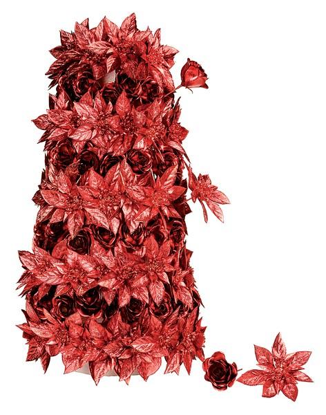 Trandafiri rosu metalizat 15 cm diametru 6 cm 0