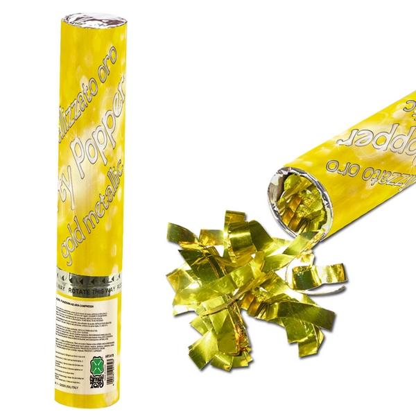 Tub confetti auriu metalizat H30cm cu aer comprimat 0