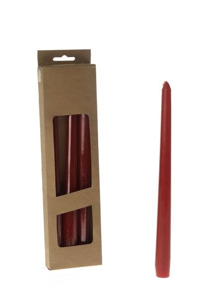 Set 4 lumanari conice rosii 24 cm 0