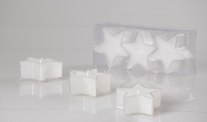 Set 3 lumanari albe forma stea 0