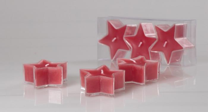 Set 3 lumanari rosii in forma de stea 0