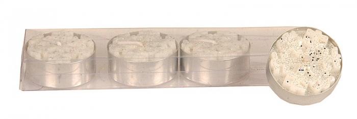 Set 4 lumanari fulgi de zapada cu glitter argintiu 3.5x1.5 cm [0]