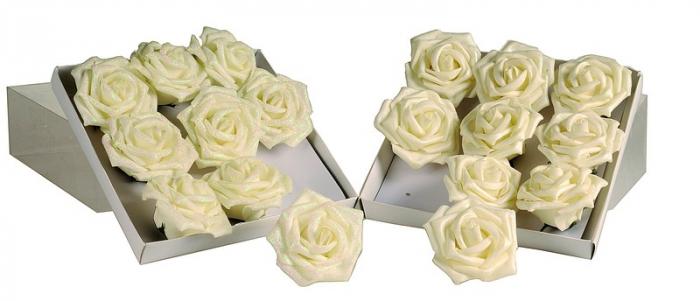 Set 12 trandafiri 6cm alb perlat/alb perlat cu gliter 0
