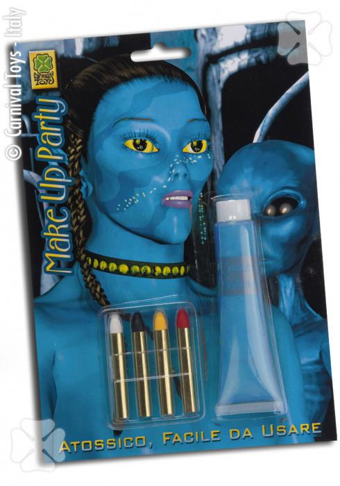 Vopsea pentru pictura pe fata blu avvatar 28gr. cu 4 creioane 0