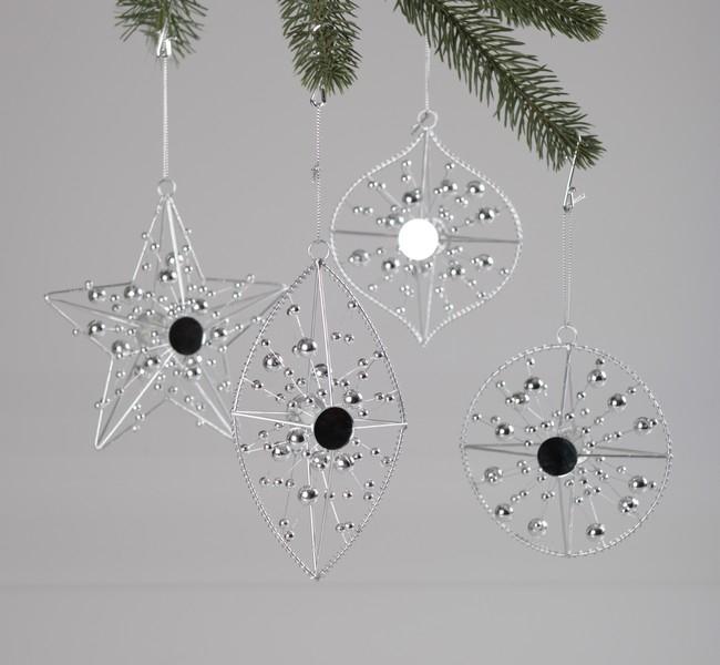 Decoratiuni de Craciun argintii cu perle 11-15 cm 4 modele 0