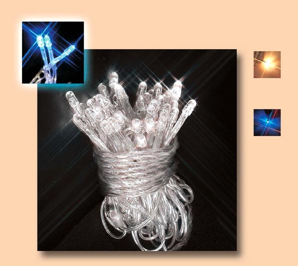 Instalatie cu 50 leduri albastru superluminos cu transformator, pentru exterior 0