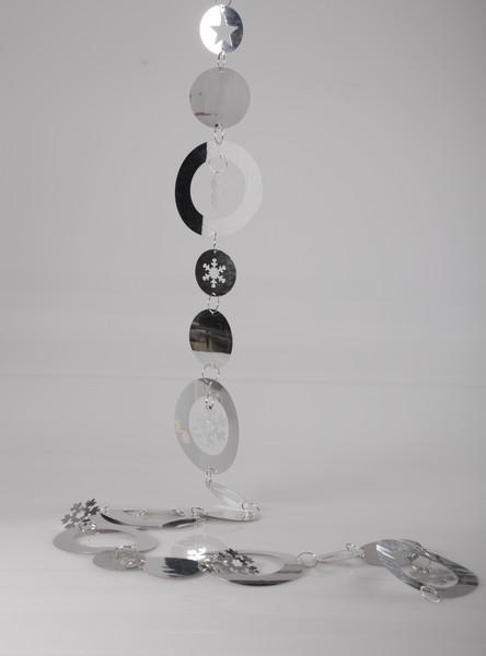 Lant decorativ 150cm argintiu cu fulgi 0