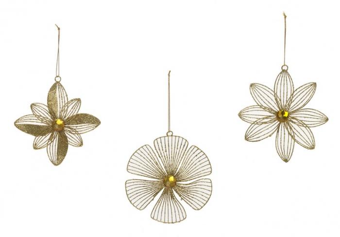 Ornament floare din fir metalic auriu 15cm 3 modele 0