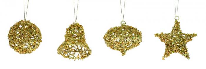 Ornamente aurii cu gliter iridiscent 8/10cm 0