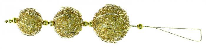 Ornamente aurii cu gliter 16 cm 1