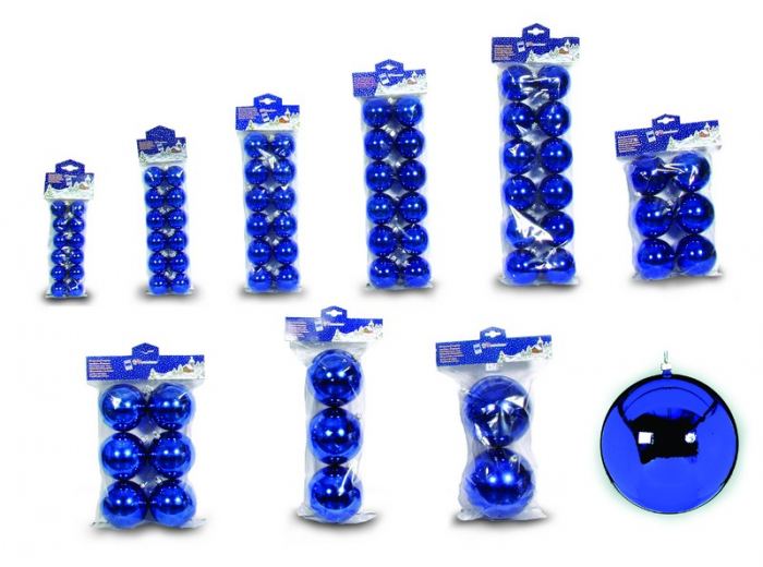 Set 12 globuri 30mm metalizat albastru 0