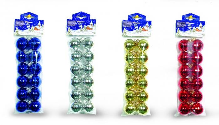 Set 12 globuri 50mm metalizat model Sfaccettato argintiu, auriu, rosu, albastru [0]