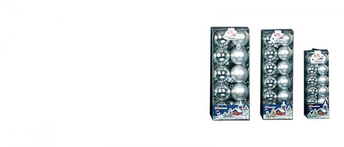 Set 12 globuri 70mm metalizat si satinat argintiu  0