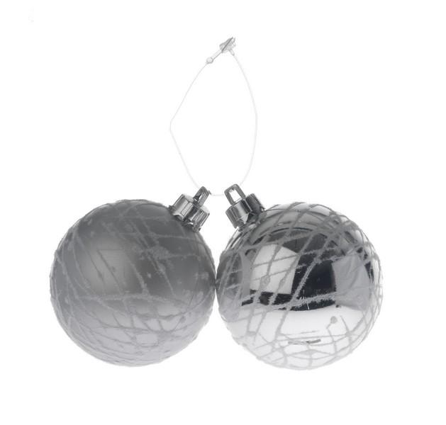 Set 2 globuri 60mm satinat argintiu  decor Ragnatela cu fulgi de bumbac 0