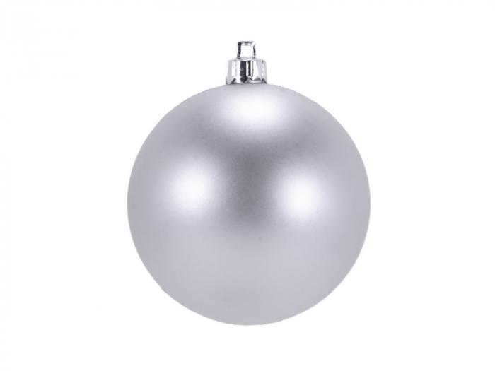 Set 2 globuri de Craciun 100mm metalizat si satinat argintiu [0]