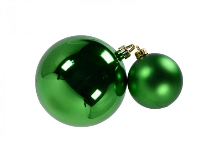 Set 2 globuri de Craciun 100mm metalizat si satinat verde 0