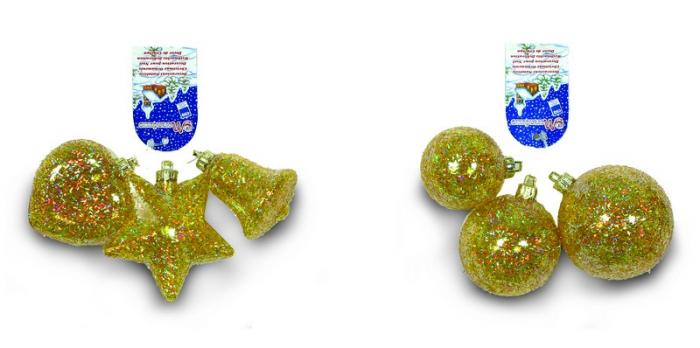 Set 3 globuri sau 3 figurine cristal galben cu decor glitter lana 0