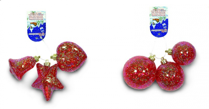 Set 3 globuri sau 3 figurine cristal rosu cu glitter [0]