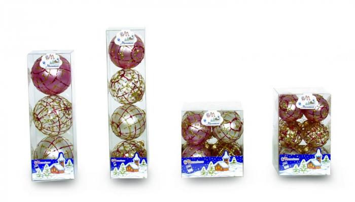 Set 4 globuri 70mm perla decor Trames rosu cu auriu [0]