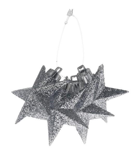 Set 4 stele 6cm decor glitter argintiu sau rosu 0