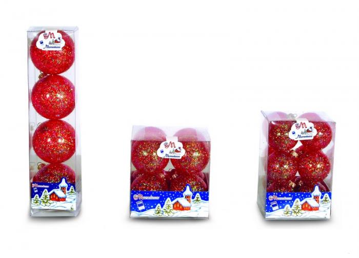 Set 8 globuri 60 mm cristal translucid cu glitter lana rosu 0