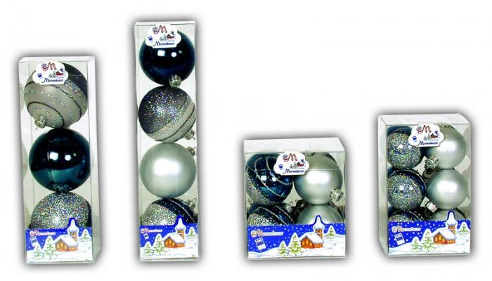 Set 8 globuri 60mm argintiu-verde petrol decor glitter argintiu 0