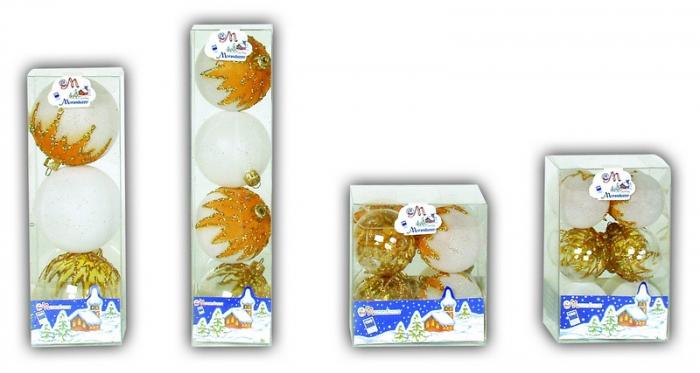 Set 8 globuri 60mm cristal cu decor bumbac alb, galben-orange si glitter auriu [0]