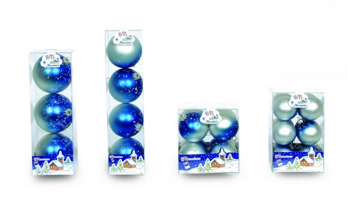 Set 8 globuri 60mm decor Sfumata argintiu cu albastru si glitter stele 0
