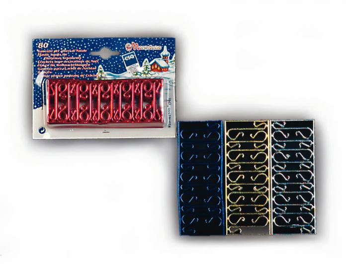 Set carlige pentru agatat decoratiuni in brad 80 buc/set 4 culori: argintiu, auriu, rosu si albastru 0