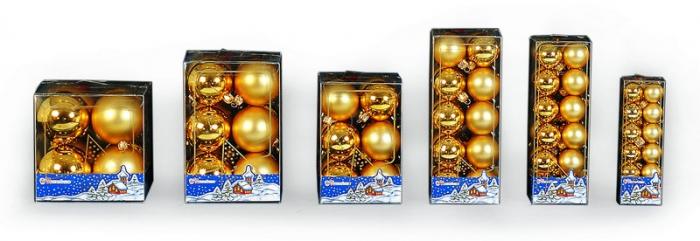 Set de 12 globuri 70mm metalizat / satinat  auriu 0