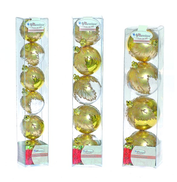 Set globuri 50/60/70mm transparente cu decor Frunze auriu 0