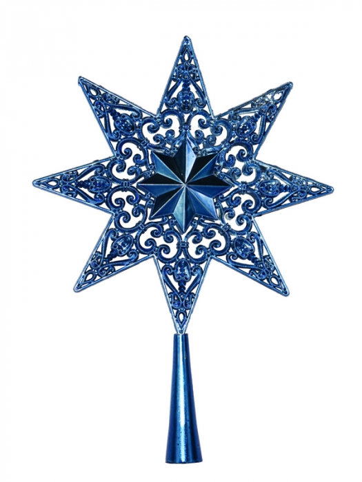 Varf de brad 25cm stea filigran metalizat albastru 0