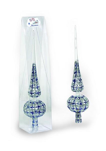 Varf de brad 30cm cristal cristal transparent decor Trame cu glitter argintiu/albastru 0
