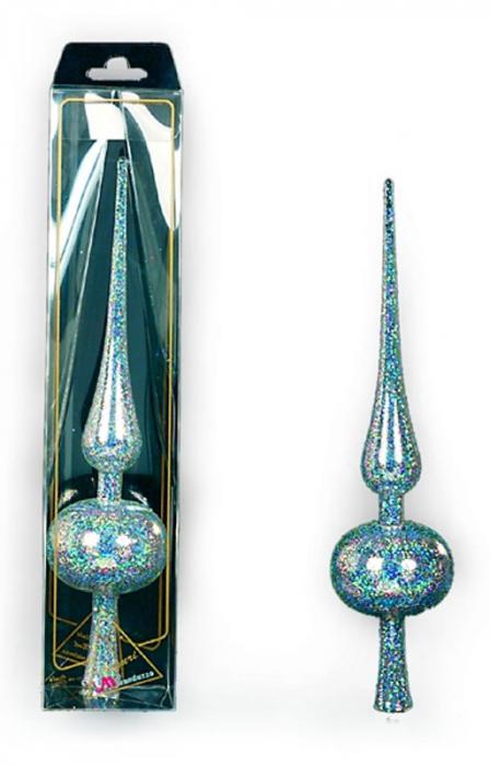 Varf de brad 30cm cristal transparent decor glitter argintiu 0