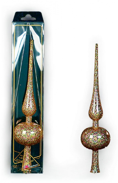 Varf de brad 30cm galben transparent decor glitter auriu 0
