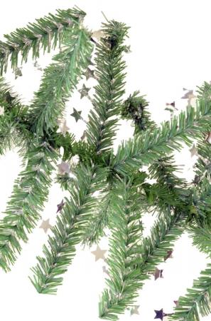Ghirlanda Minicosmos verde cu stele argintii 200 mm0