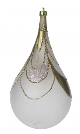 Glob Picatura 100mm opalin decor Meza Onda cu glitter auriu0
