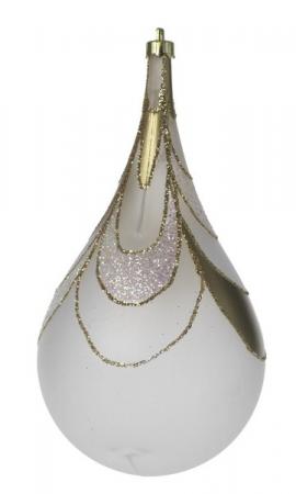 Glob Picatura 100mm opalin decor Meza Onda cu glitter auriu1