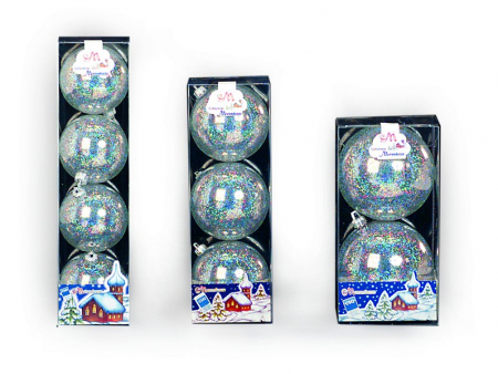 Set 3 globuri 80 mm cristal cu glitter argintiu
