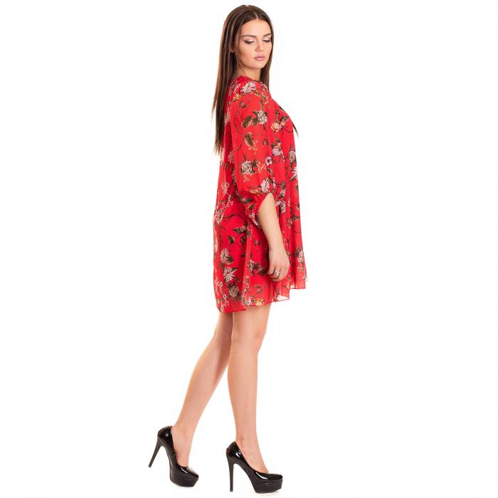 Rochie  din voal imprimeu floral , cu maneca bufanta cu elastic 1
