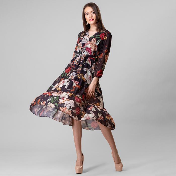 Rochie lunga cu imprimeu floral 0
