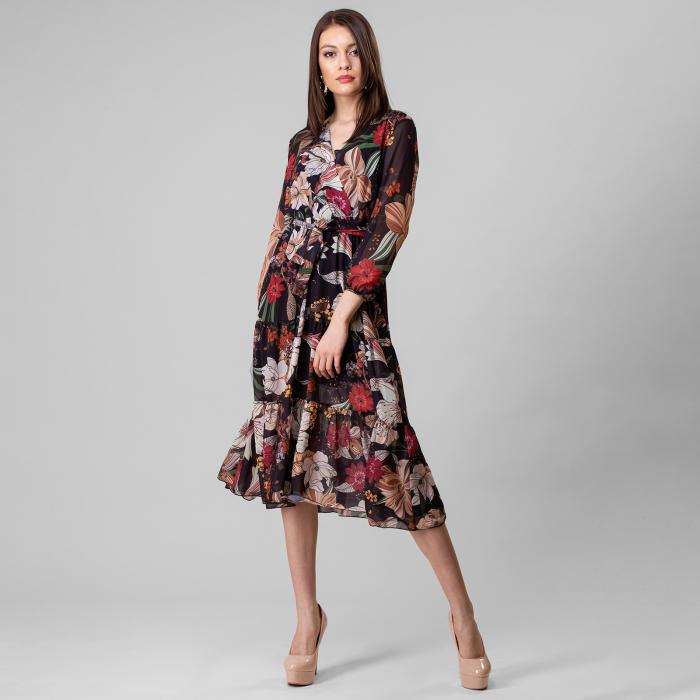 Rochie lunga cu imprimeu floral 1