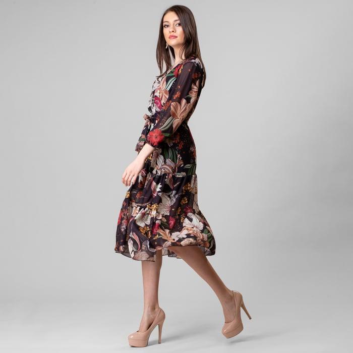 Rochie lunga cu imprimeu floral 2