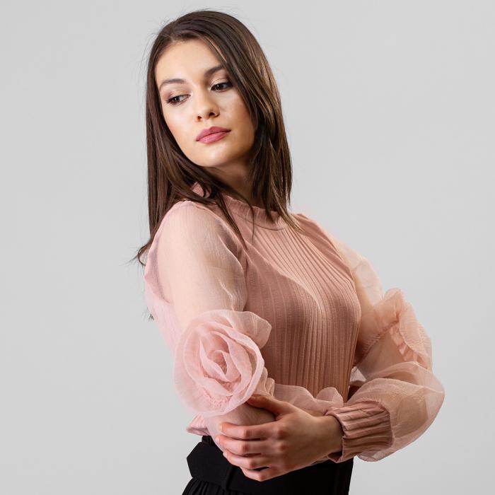 Bluza maneca trandafir 0