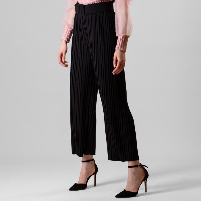 Pantalon plisat cu curea 1